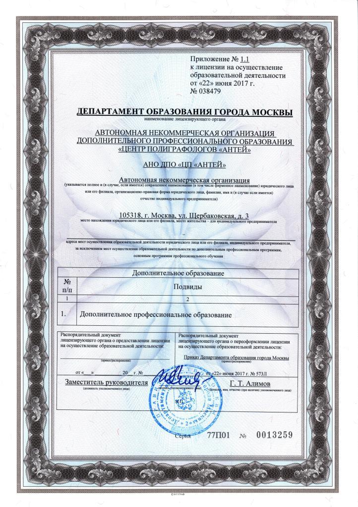 """Приложение к Лицензии АНО ДПО """"ЦП """"АНТЕЙ"""""""